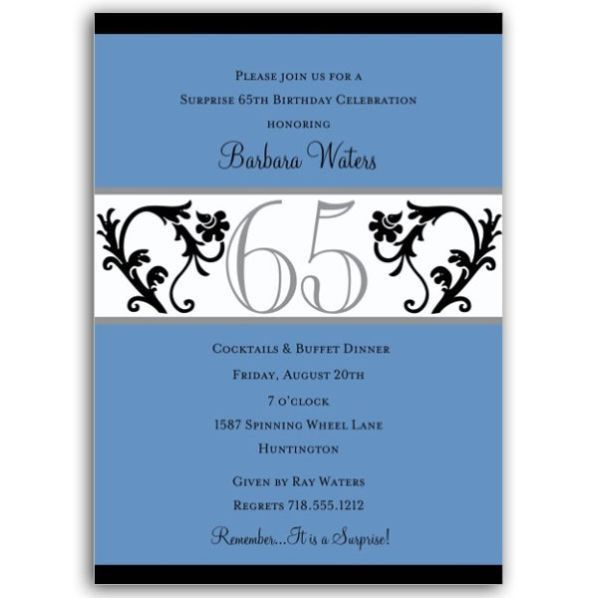 65th Birthday Party Invitations - vertabox.Com