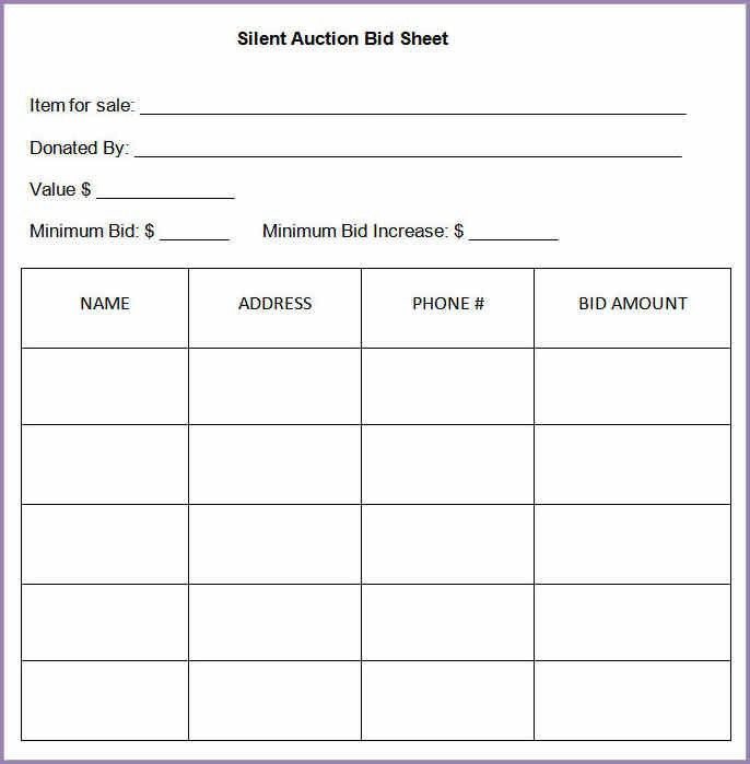 SILENT AUCTION BID SHEET | Samplenotary.cam