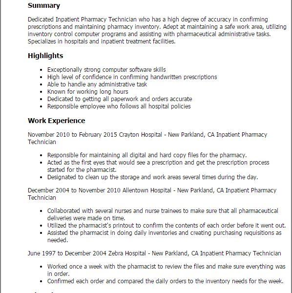 Pleasant Pharmacy Technician Resume 12 Professional Inpatient ...