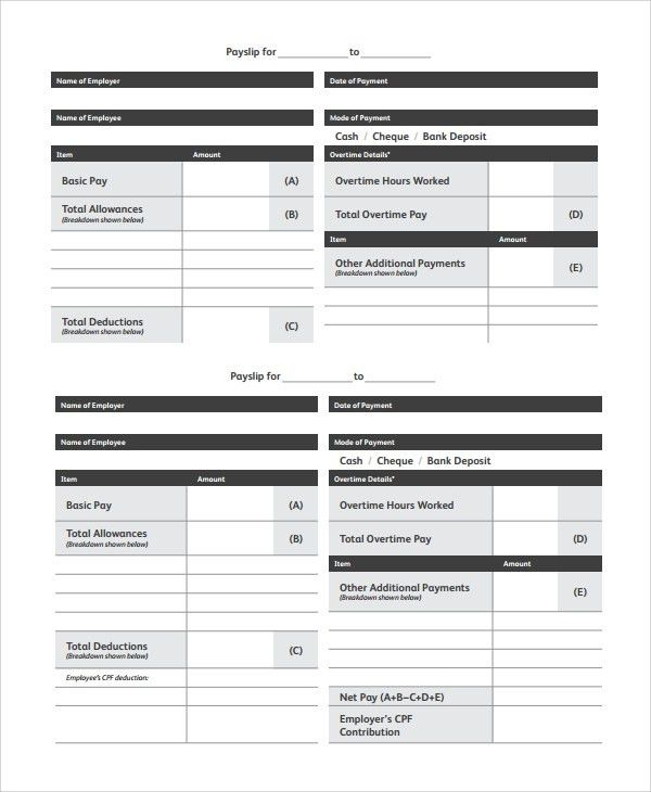 Awe-inspiring Two Columns Full Payslip Template For PDF Or Office ...
