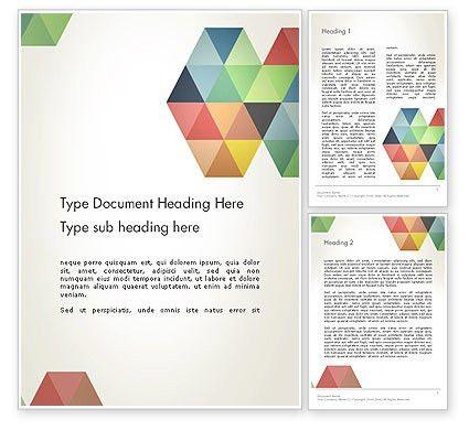워드 템플릿 - 현대 우아한 다채로운 삼각형 모양 | PoweredTemplate.com