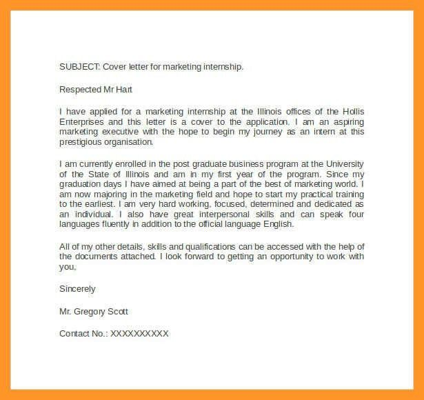 marketing internship cover letter | sop example