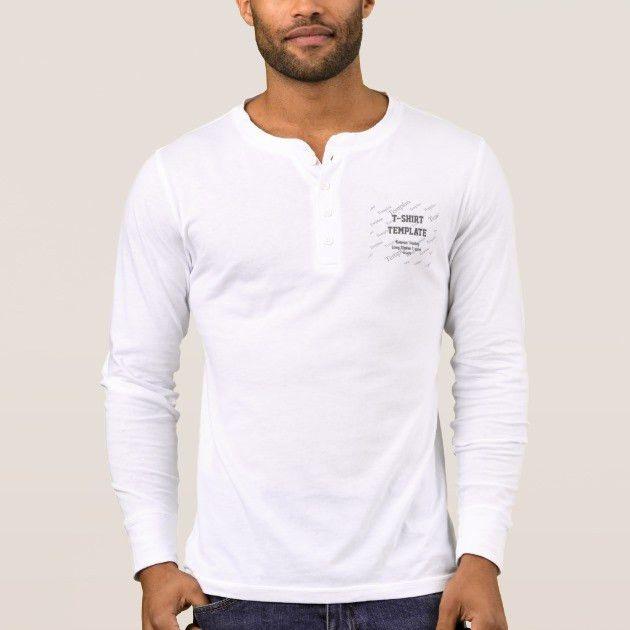 Men's Custom Henley Long Sleeve Template WHITE T-Shirt   Zazzle.com