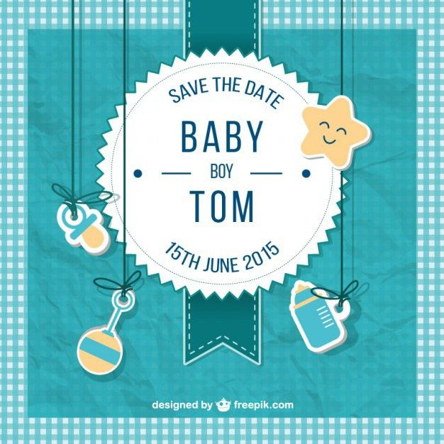 Baby shower card for boy in scrapbook style Vector | Free Download