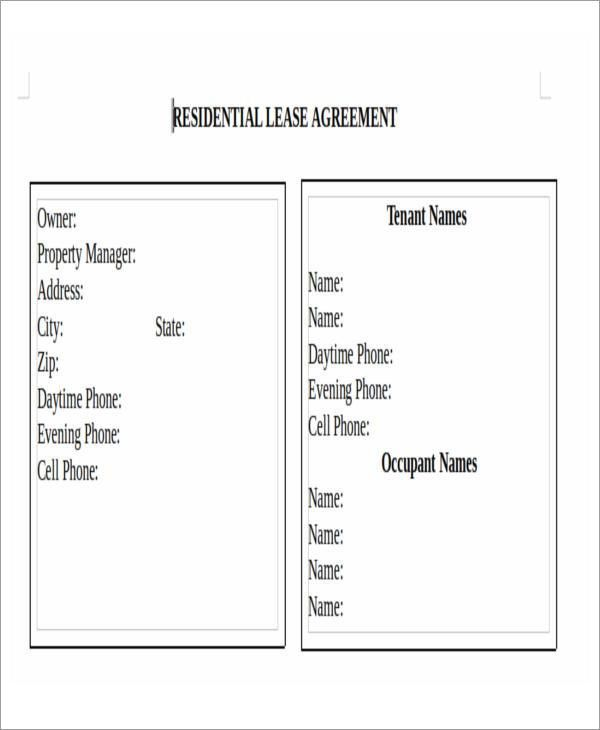 Printable Lease Agreement | Free & Premium Templates