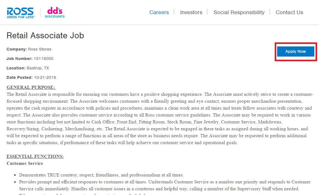 Ross Job Application & Career Guide | Job Application Review