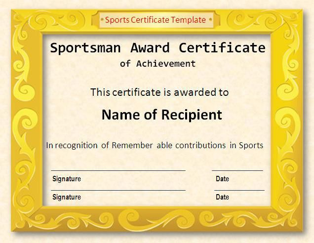 10 Sports Certificate Templates   Certificate Templates