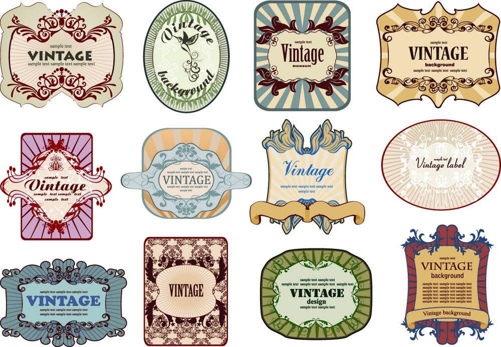 European nostalgia bottle label 02 vector Free Vector / 4Vector