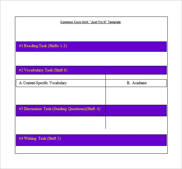 Common Core Lesson Plan Template – 8+ Free Word, Excel, PDF Format ...