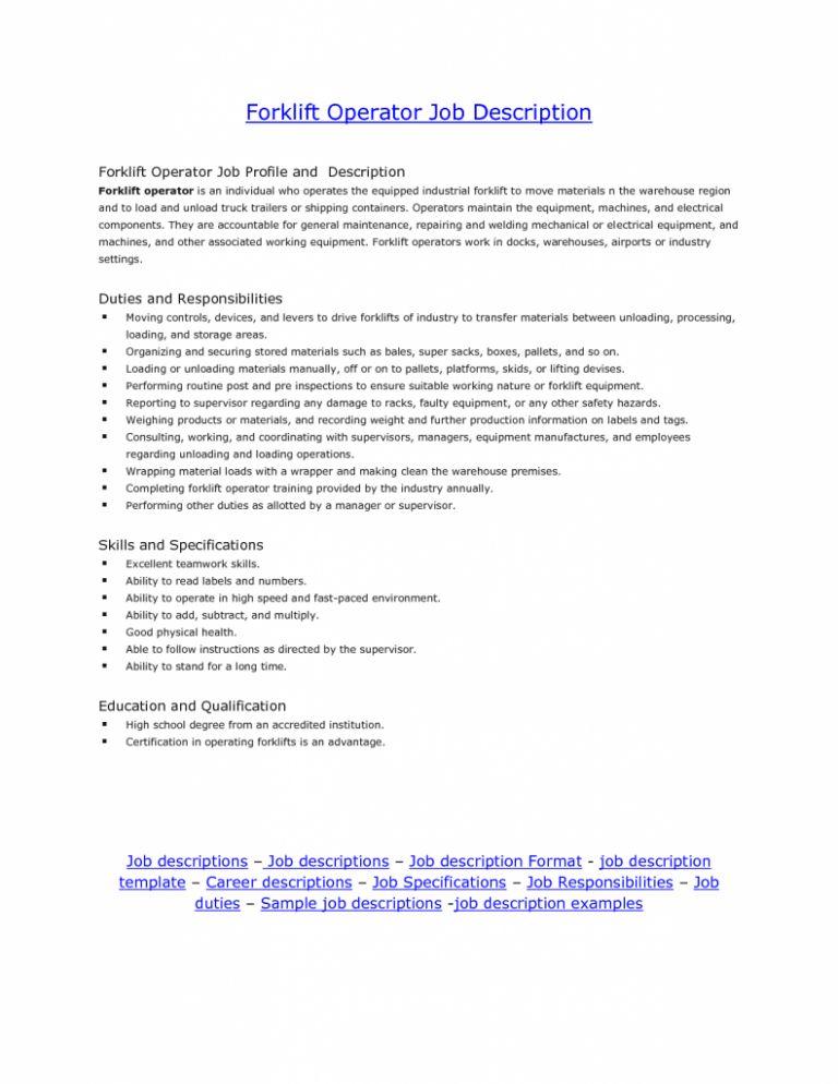 Sensational Idea Forklift Driver Resume 10 Forklift Operator ...