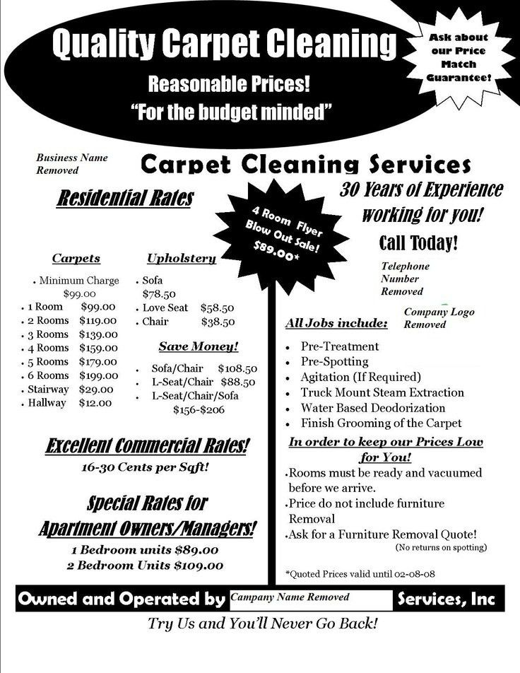 Carpet Cleaning Flyer A flyer I did on spec for a local carpet ...