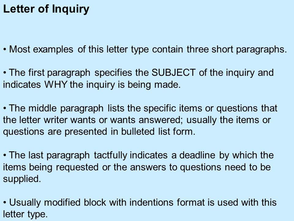 Types of Business Letters Letter of Transmittal Letter of Inquiry ...