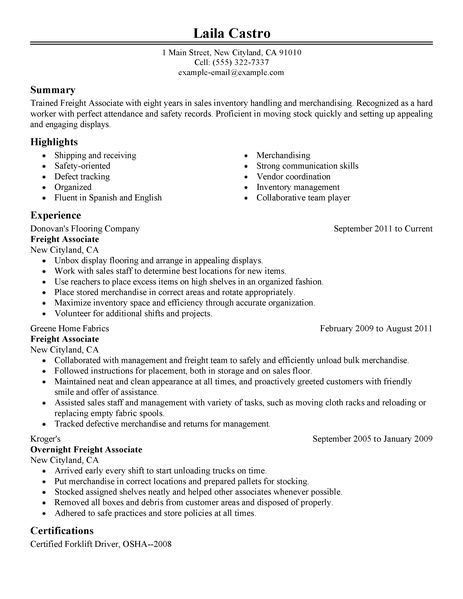 Best Sales Freight Associate Resume Example | LiveCareer