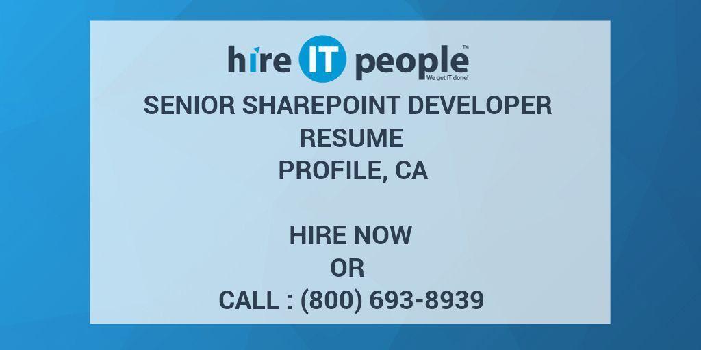 Senior Sharepoint Developer Resume profile, CA - Hire IT People ...