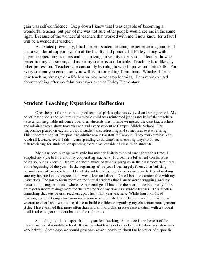 Student teaching reflection