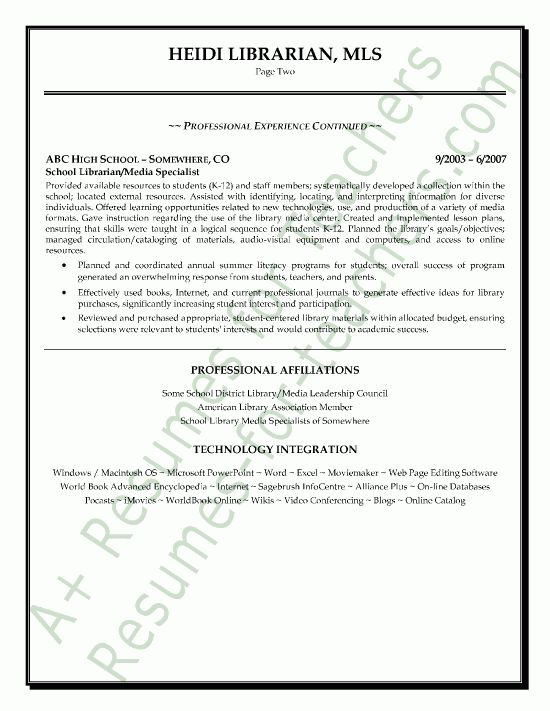 Media / Librarian Resume Sample - Page 2