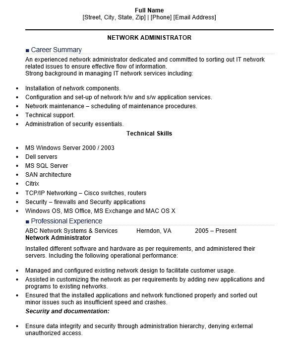network administration resume network administrator resume