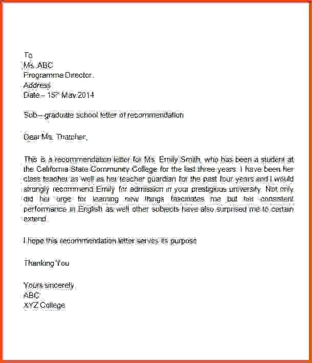 sample recommendation letter for student | Sponsorship letter