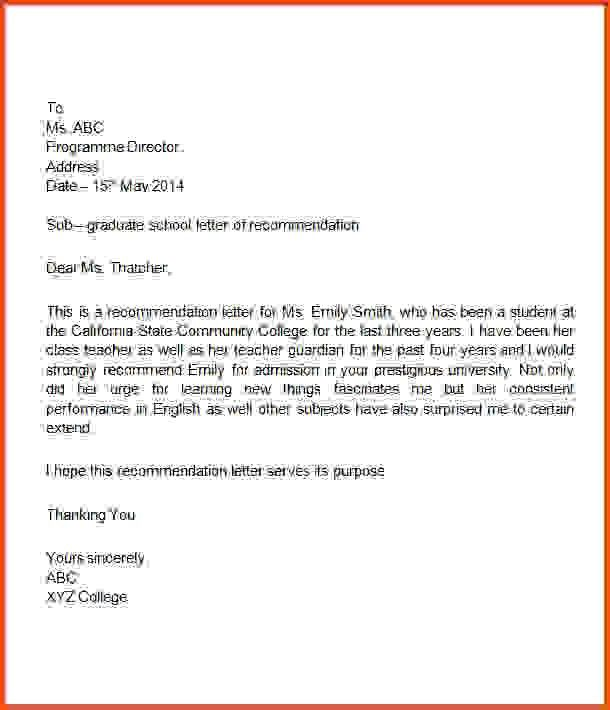 Sample Recommendation Letter For Student.107747337.png ...