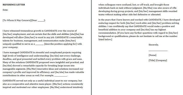 Free Personal/Character Reference Letter Templates-Doc, Word ...