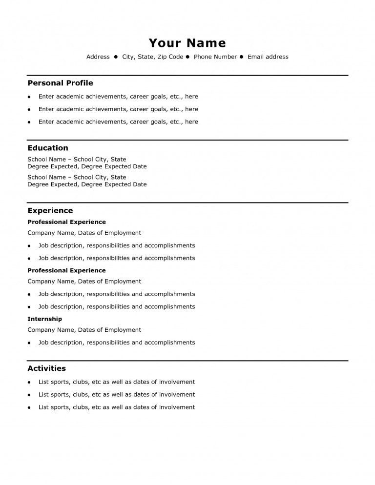 Simple Resumes Examples. 51 Teacher Resume Templates Free Sample ...