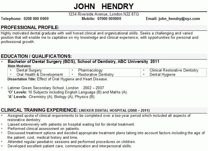Dentist CV Sample