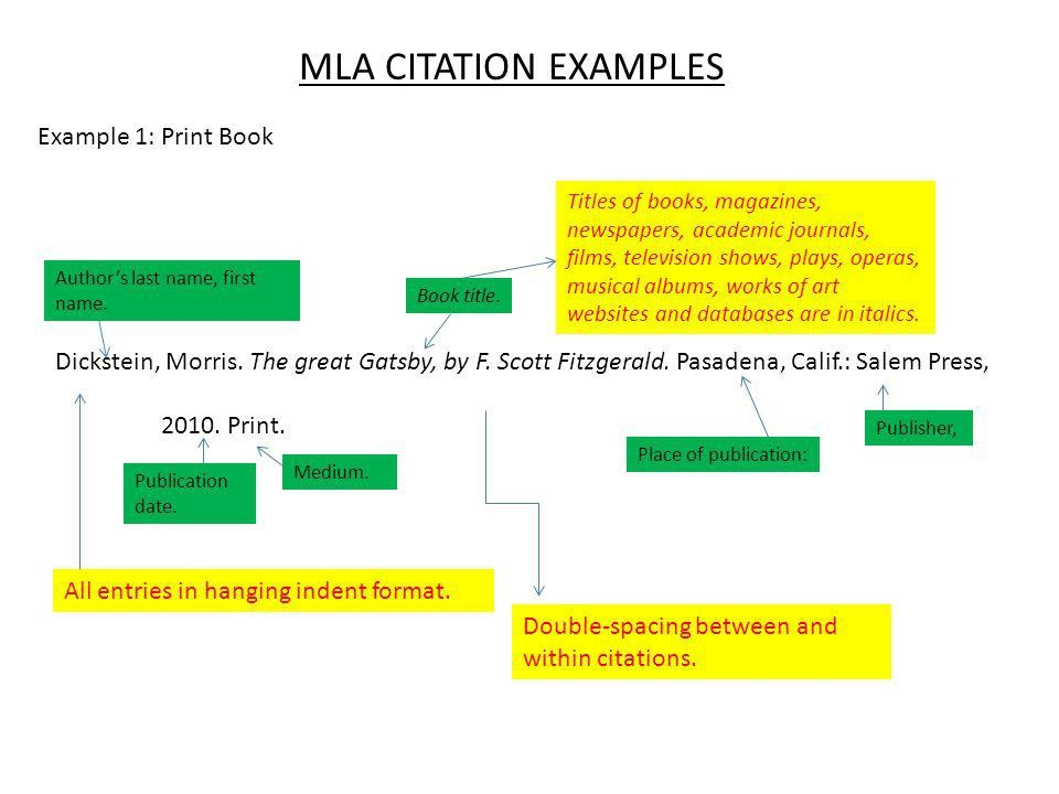 MLA CITATION EXAMPLES Dickstein, Morris. The great Gatsby, by F ...