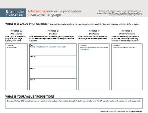 B2B Value Proposition Template: From Brainrider
