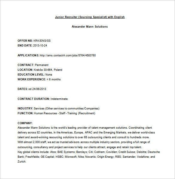 Recruiter Job Description Template U2013 10+ Free Word, PDF Format .