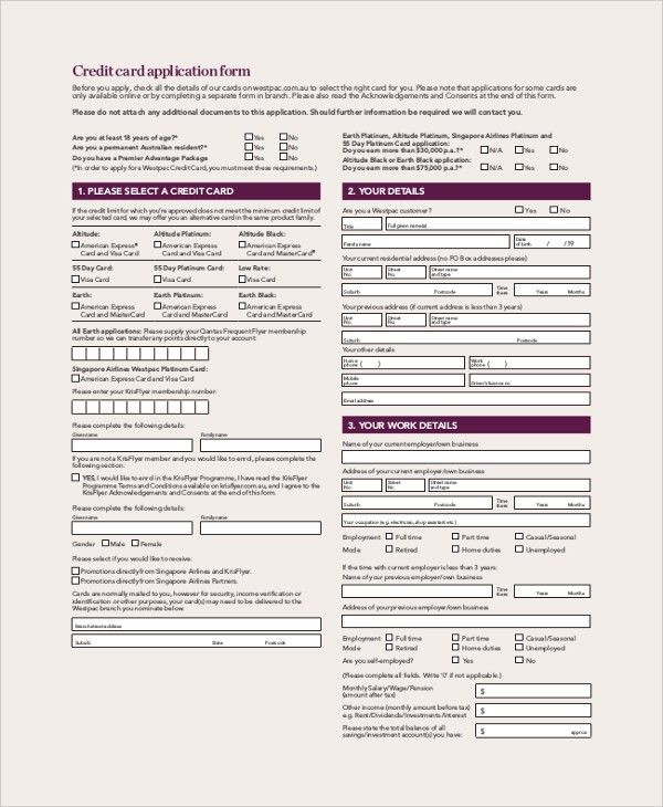 Sample Credit Card Form - 9+ Examples in Word, PDF