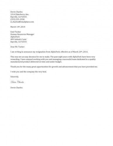 Two Weeks Notice Letter Example | Template Design