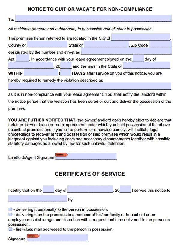 Free Eviction Notice to Comply or Quit Template   NonCompliance