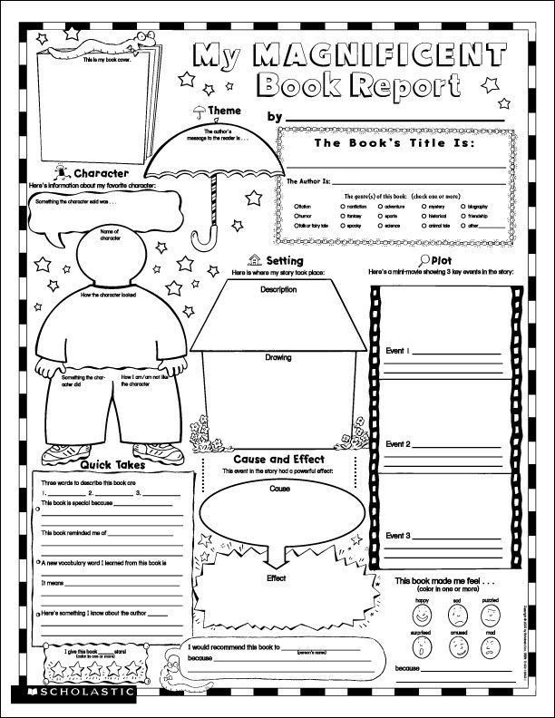 For 4th Grade 7 best images of free printable book report ...