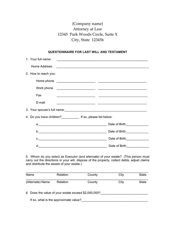 Last Will and Testament Form - download free documents for PDF ...