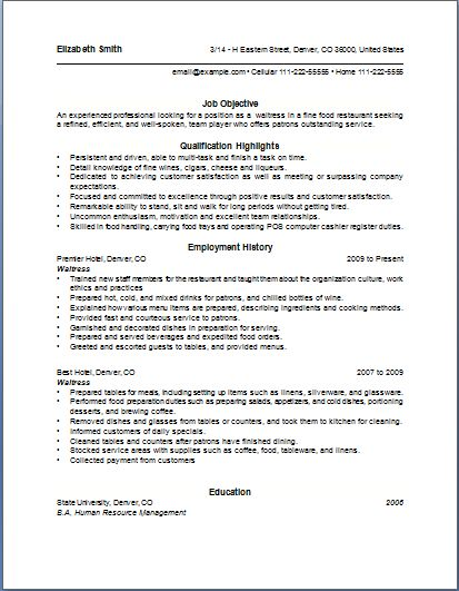 10 Waitress Resume Example | Writing Resume Sample