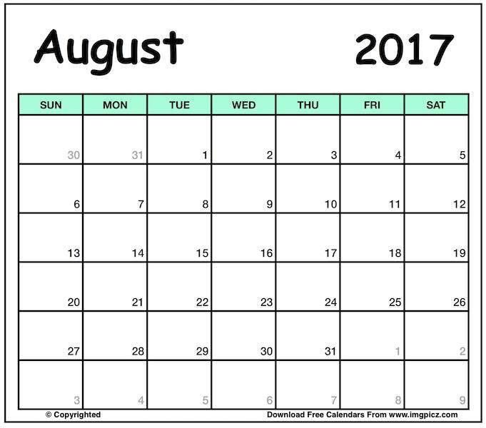 August 2017 Calendar Template Word | Editable Excel, PDF printable