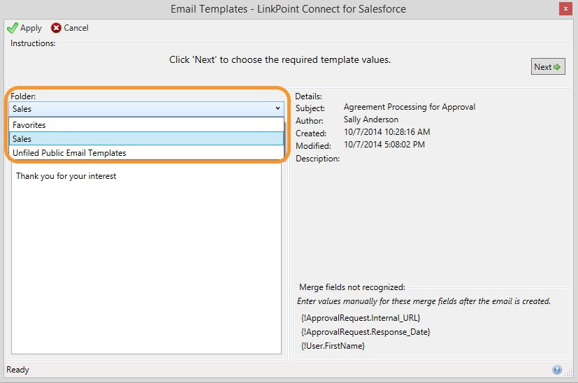Using Salesforce Email Templates in Outlook - LinkPoint360