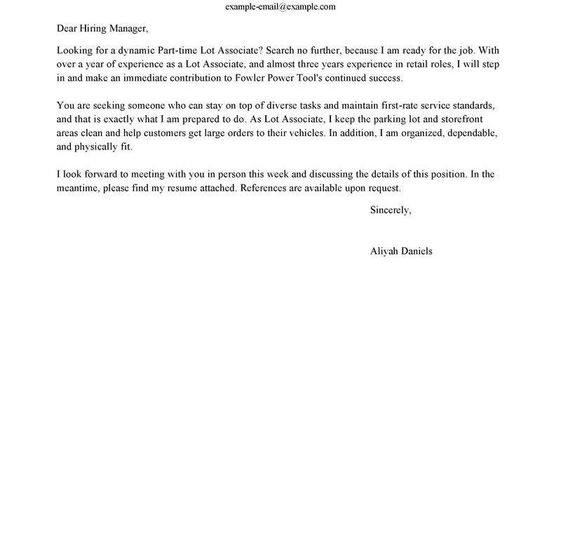 Prissy Design Cover Letter For Retail 8 Best Examples. Part Time ...
