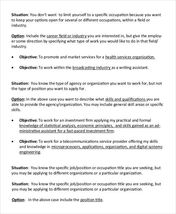 Sample Resume Objective - 9+ Examples in PDF