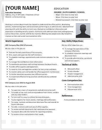Executive Secretary Resume Contents, Layouts U0026 Templates | Resume .