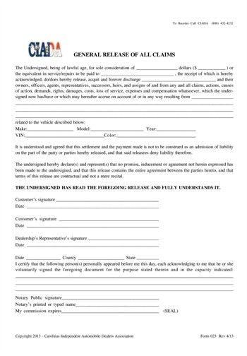 Forms - Carolinas Independent Automobile Dealers Association