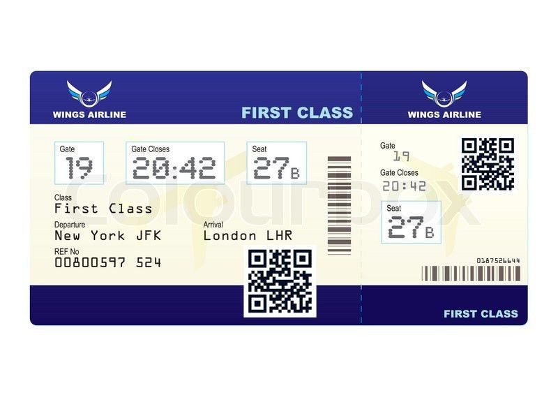 Fake plane ticket with scan smart barcode modern QR code | Stock ...