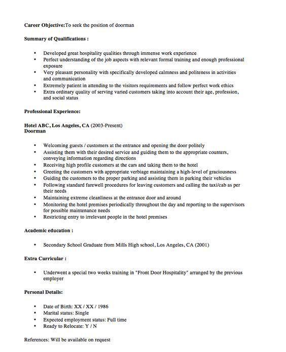 New Doorman Resume Sample 2016 - http://resumesdesign.com/new ...