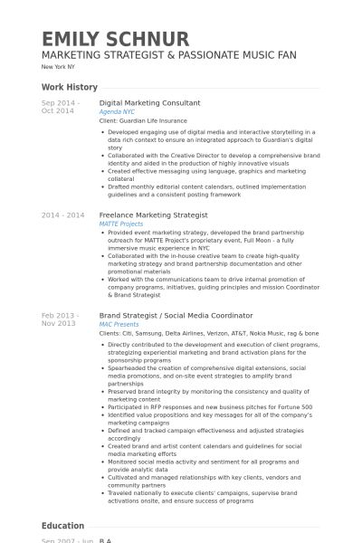Digital Marketing Consultant Resume samples - VisualCV resume ...