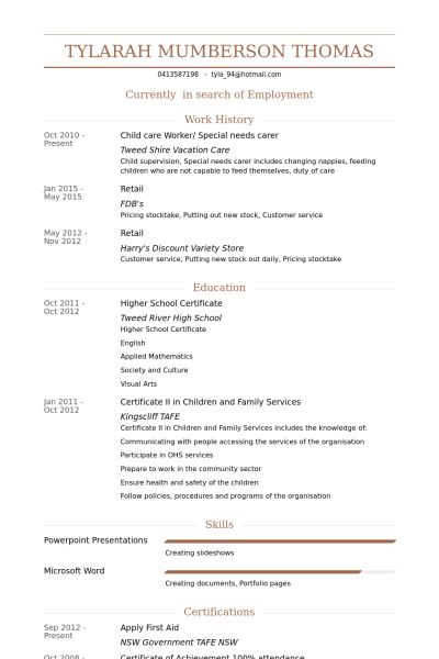 child care worker resume
