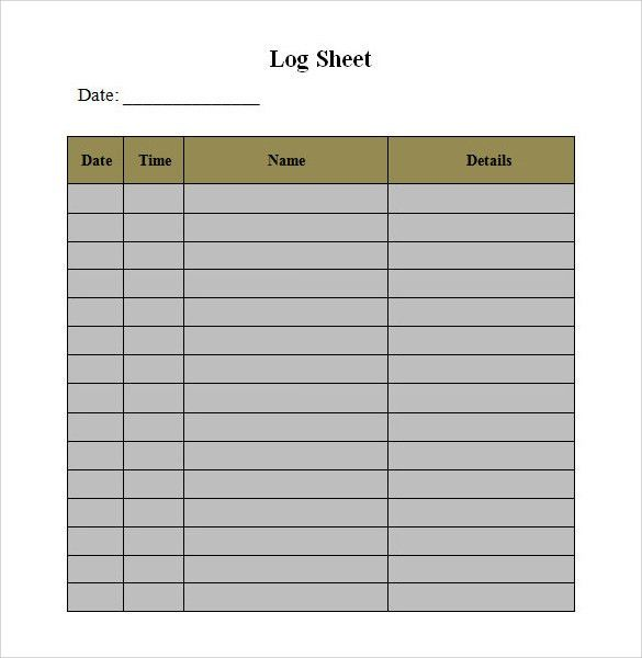Sample Log Template   Documents In PDF , Word , Excel Ideas