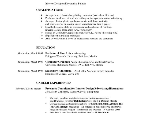 breathtaking interior designer sample resume sample resume outline ...