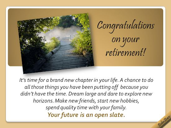 Your Future Is An Open Slate. Free Retirement eCards, Greeting ...