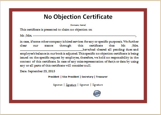 MS Word No Objection Certificate Template | Word & Excel Templates