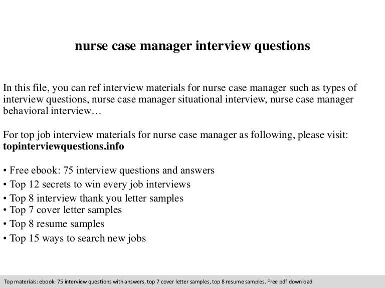 Nurse case manager interview questions